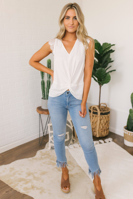 Lace Cap Sleeve Twisted Knot Top - White
