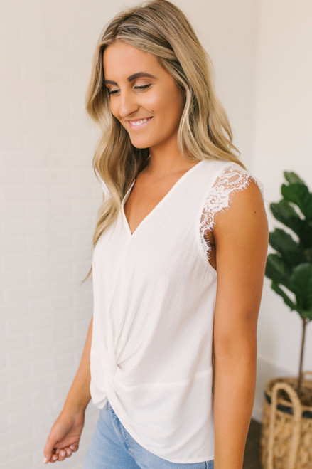 Lace Cap Sleeve Twisted Knot Top - White  - FINAL SALE