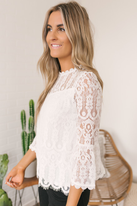 Peplum Sleeve Eyelash Lace Top - White - FINAL SALE