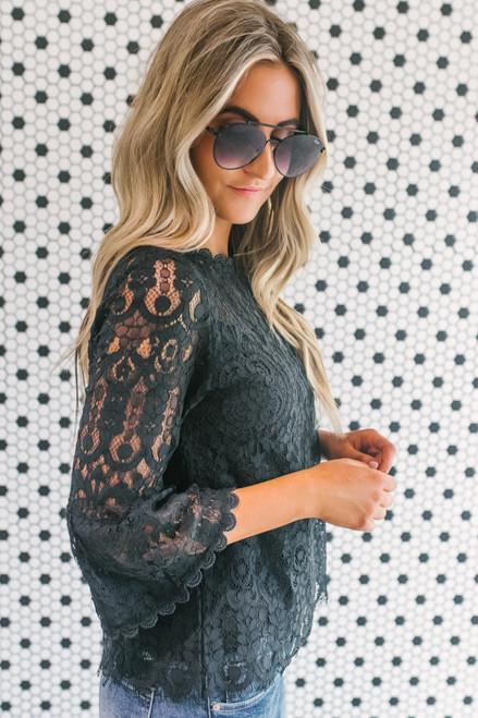 Peplum Sleeve Eyelash Lace Top - Black