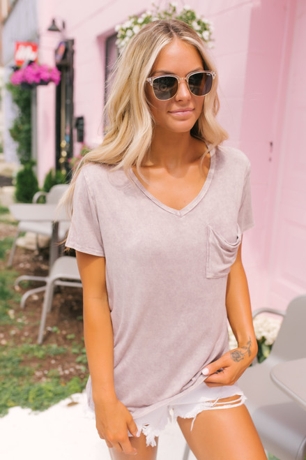 V-Neck Vintage Wash Pocket Tee - Lavender Mocha - FINAL SALE