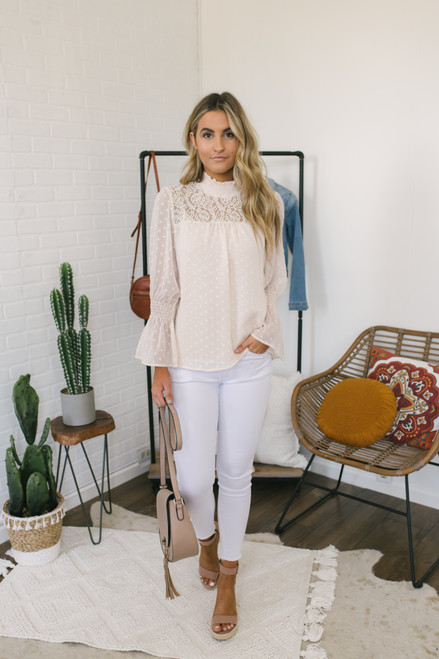Mock Neck Lace Detail Dotted Top - Cream