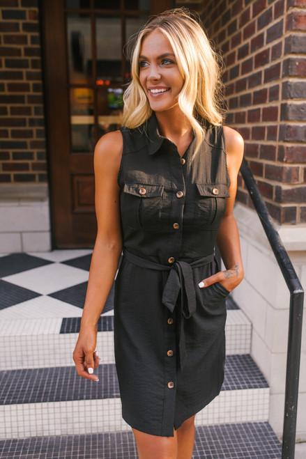Tie Waist Button Down Dress - Black
