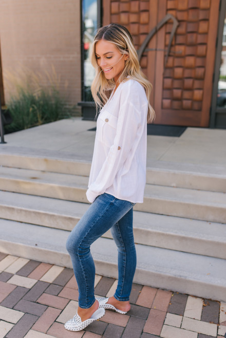 Button Down Pocket Linen Top - Ivory