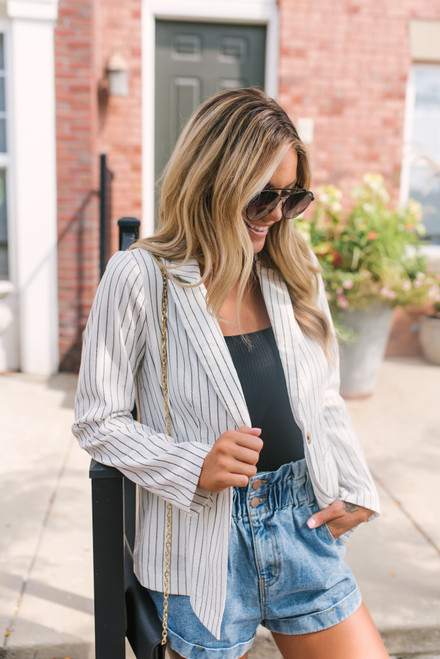 Corporate Retreat Striped Blazer - White/Black- FINAL SALE