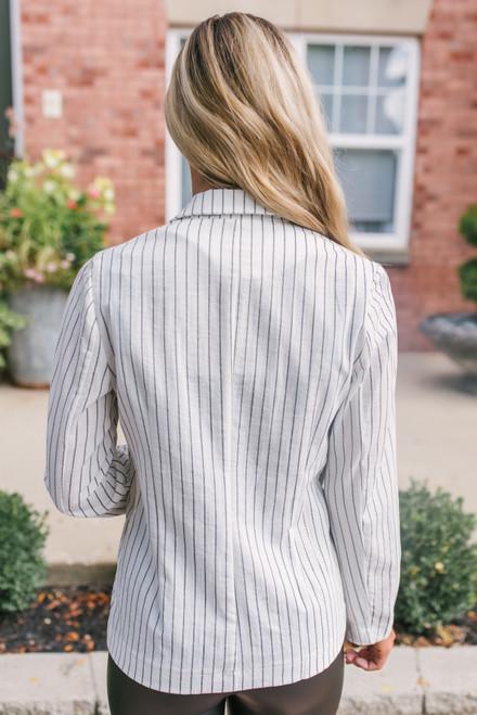 Corporate Retreat Striped Blazer - White/Black- FINAL SALE