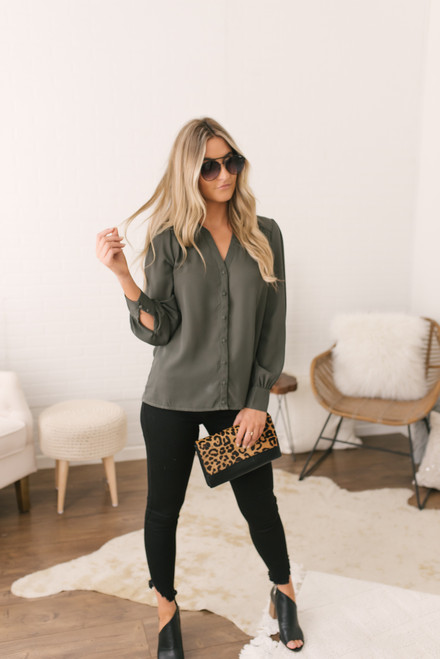 Button Down Sweetheart Back Blouse - Dark Olive