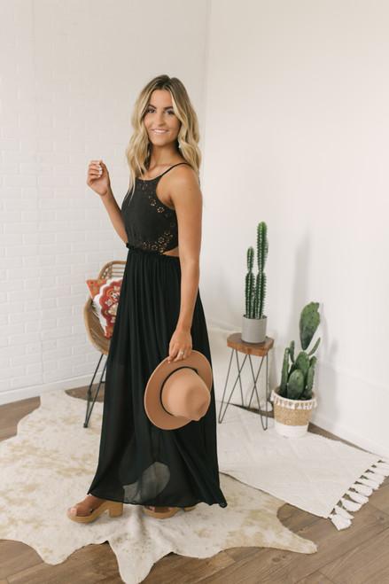 Desert Wind Crochet Detail Maxi - Black - FINAL SALE