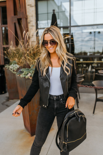 Sweatshirt Faux Leather Jacket - Black
