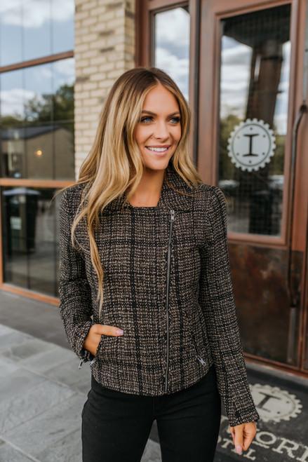 Plaid Tweed Moto Jacket - Black/Taupe