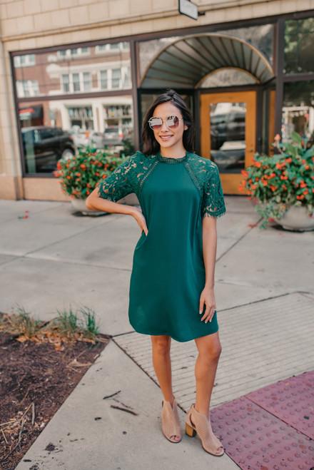 Lace Sleeve Shift Dress - Hunter Green