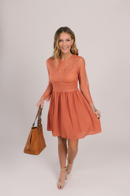 Vibrant Love Lace Skater Dress - Persimmon