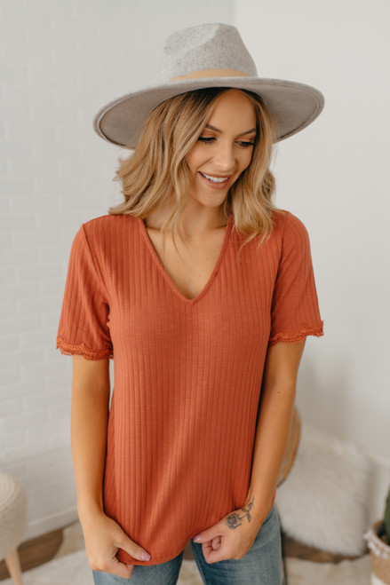 V-Neck Crochet Detailed Ribbed Top - Persimmon - FINAL SALE
