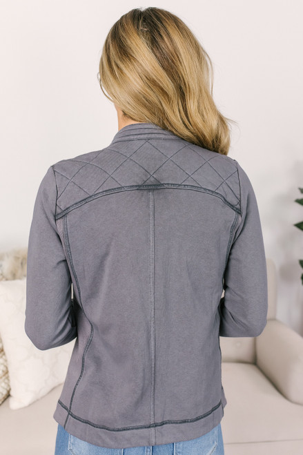 Asymmetrical Moto Jacket - Lavender Charcoal