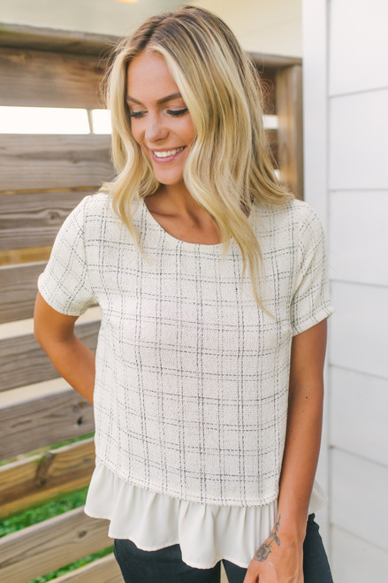 Checkered Tweed Peplum Top - Cream/Black - FINAL SALE