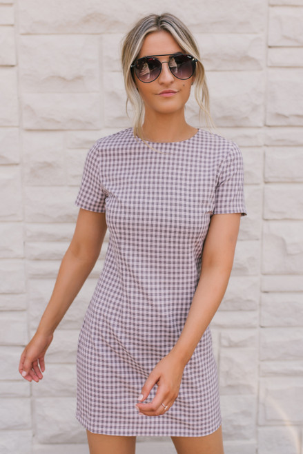 BB Dakota Checked Out Shift Dress - Rose Quartz  - FINAL SALE