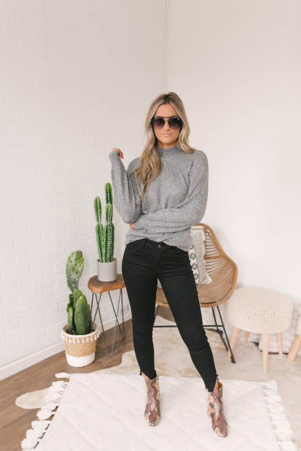 BB Dakota Live & Let Tie Sweater - Heather Grey