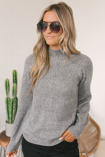BB Dakota Live & Let Tie Sweater - Heather Grey - FINAL SALE