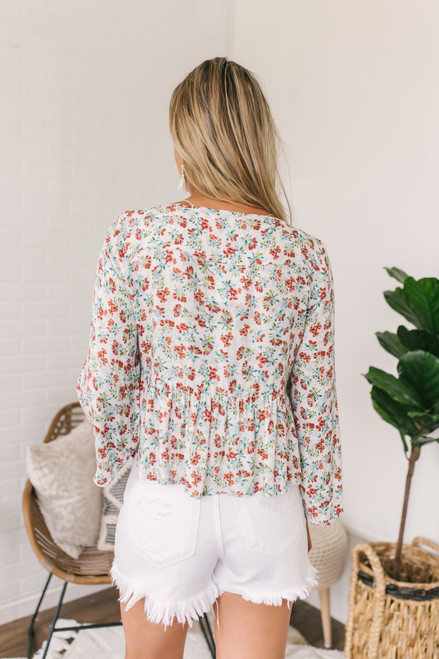 Jack by BB Dakota Floral Peplum Top - Ivory - FINAL SALE