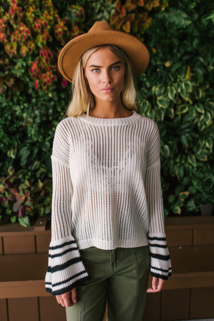 Jack by BB Dakota Like I Flare Sweater - Ivory- Navy Multi - FINAL SALE
