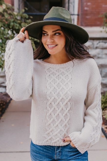 BB Dakota Retro Active Sweater - Ivory - FINAL SALE