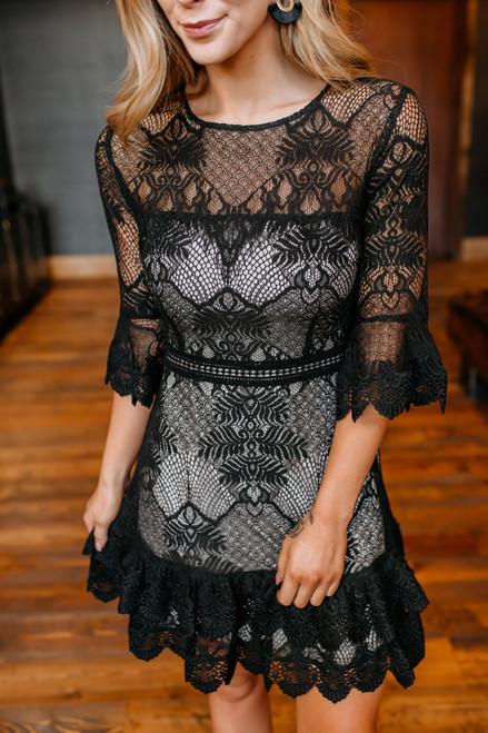 BB Dakota Layer Cake Lace Dress - Black