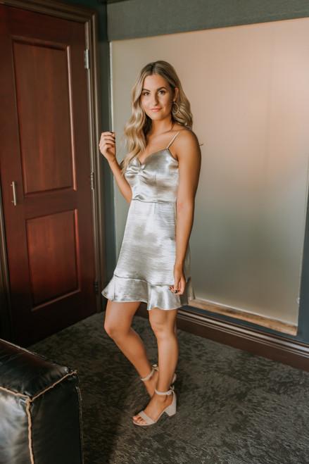 BB Dakota Call in Slick Dress - Silver