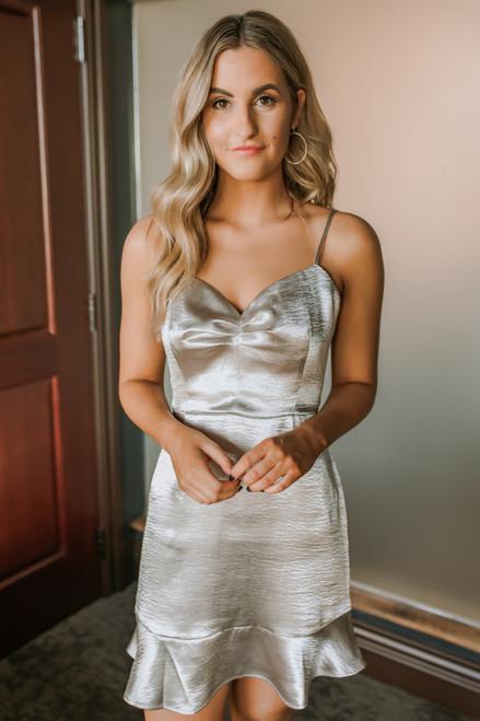 BB Dakota Call in Slick Dress - Silver - FINAL SALE