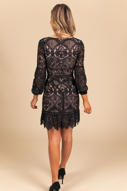 BB Dakota That's Deep Black Lace Dress