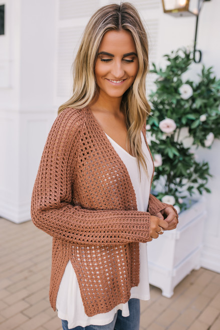 Open Knit Boxy Cardigan - Carmel Clay  - FINAL SALE