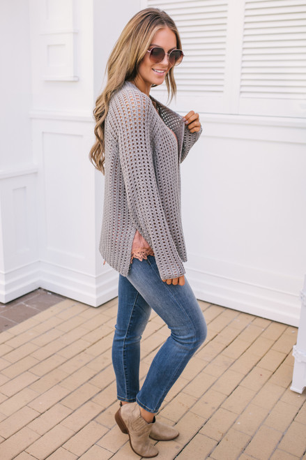 Open Knit Boxy Cardigan - Grey Mint - FINAL SALE