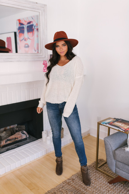 Wildwood Forest V-Neck Sweater - Ivory