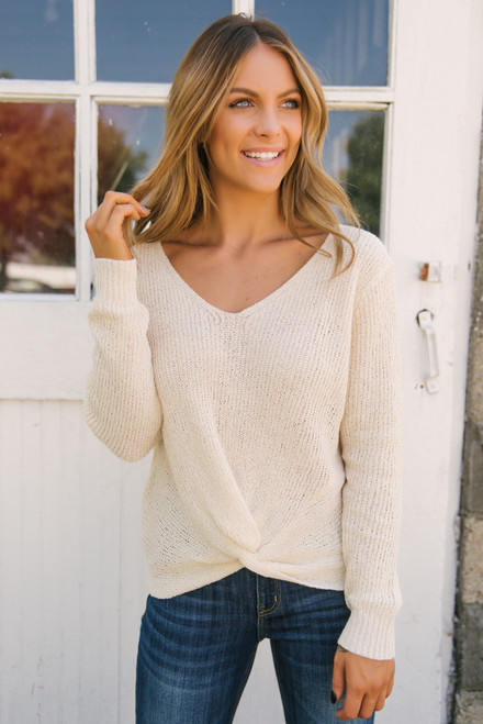 French Market Knot Sweater - Cream - FINAL SALE
