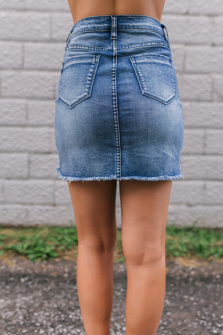Southern at Heart Frayed Denim Skirt - Medium Wash