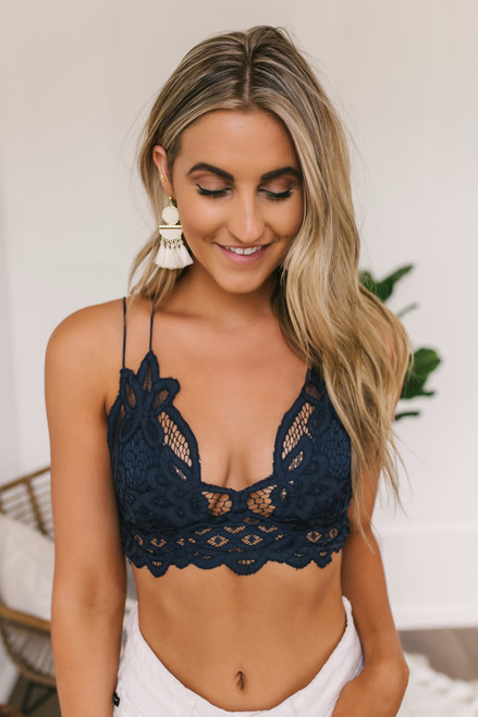 Free People Adella Bralette - Navy