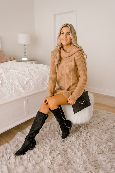 BB Dakota Couldn't Be Sweater Dress - Camel