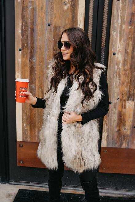 BB Dakota Fur-Ther Ado Vest - Ivory