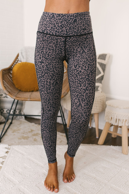 Leopard Mesh Detail Leggings - Lavender Mocha/Black - FINAL SALE