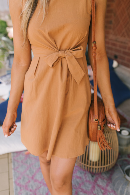 Everly Mock Neck Button Detail Tie Dress - Mustard Gold