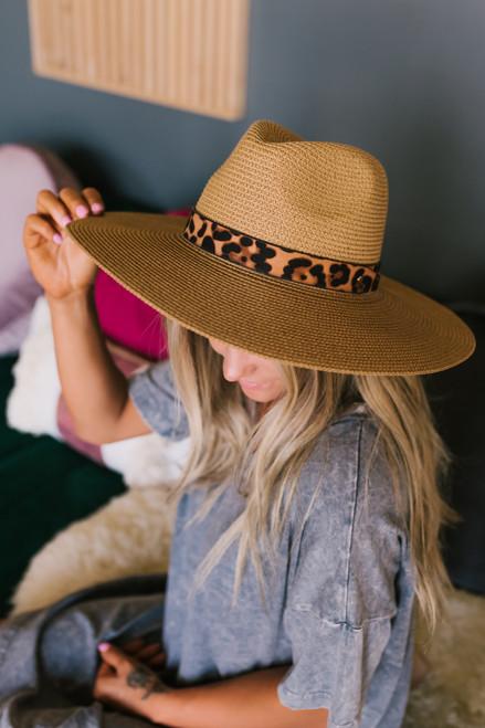 Wild One Leopard Band Straw Hat - Tan