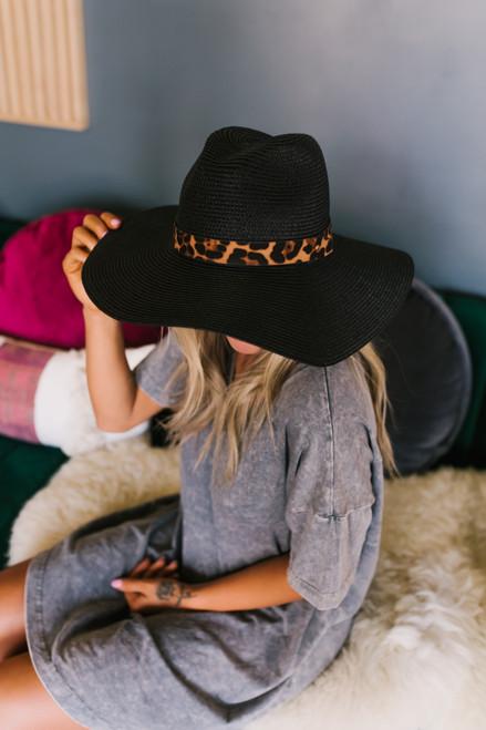 Wild One Leopard Band Straw Hat - Black- FINAL SALE