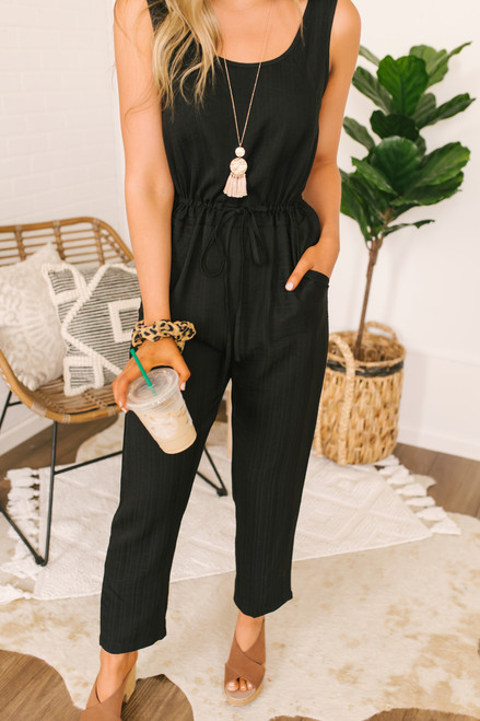 Striped Drawstring Chambray Jumpsuit - Black - FINAL SALE