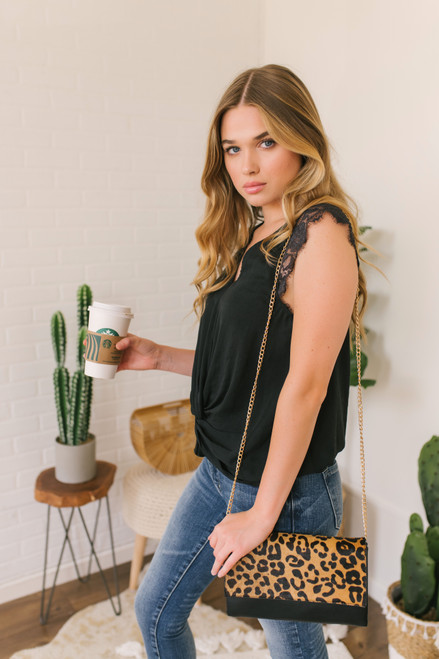 Lace Cap Sleeve Twisted Knot Top - Black - FINAL SALE