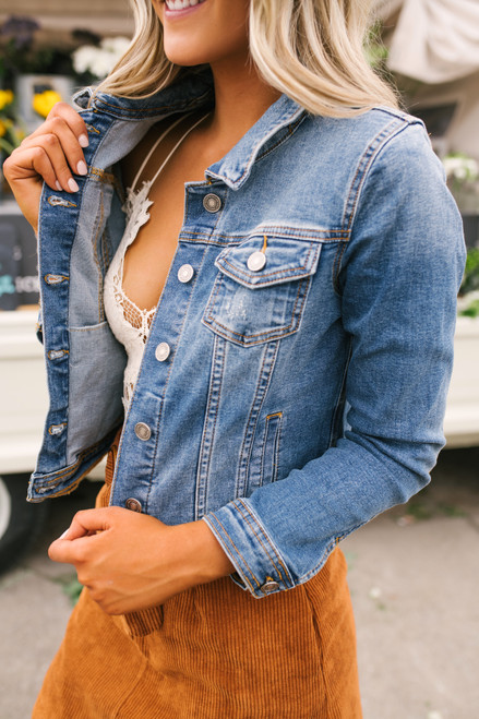 Sweet South Faded Denim Jacket - Medium Wash - FINAL SALE
