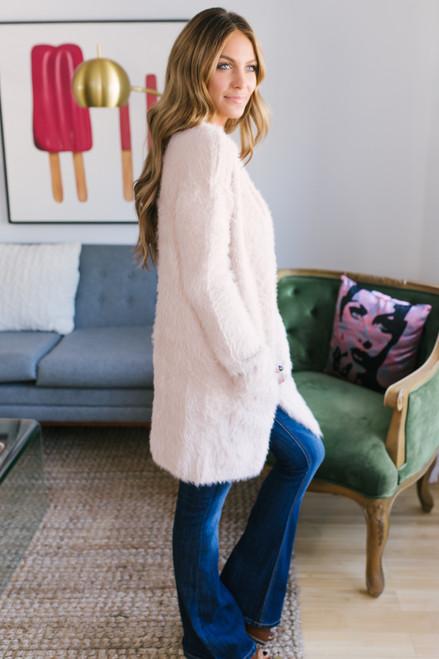Soft Faux Fur Pocket Cardigan - Peach Beige