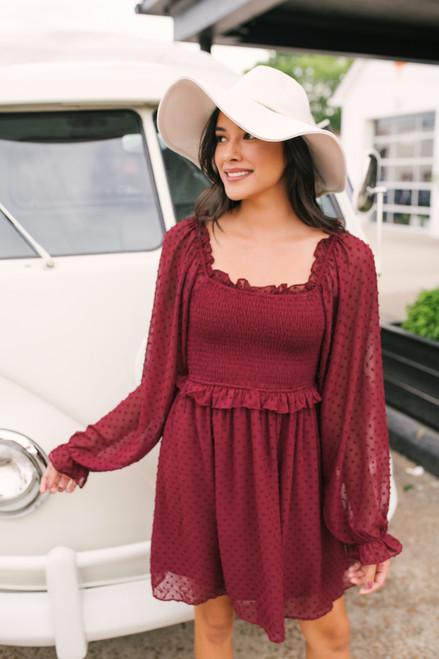 Love Letter Smocked Dotted Dress - Burgundy