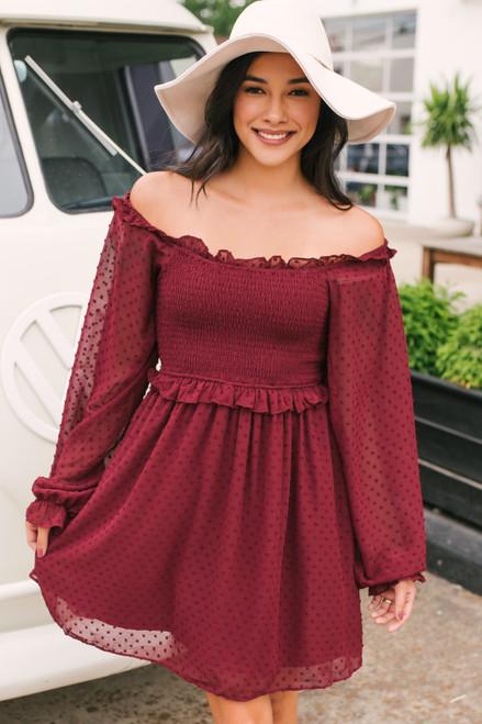 Love Letter Smocked Dotted Dress - Burgundy - FINAL SALE
