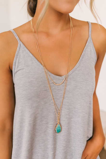 Layered Fern Detail Stone Necklace - Gold/Teal