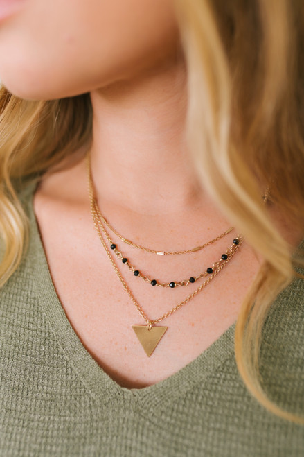 Triangle Triple Layered Necklace - Gold/Black