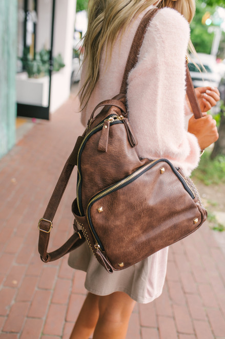 Distressed Studded Vegan Leather Backpack - Brown